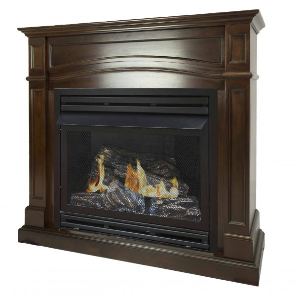 Pleasant Hearth 46 in. Natural Gas Full Size Cherry Vent Free Fireplace System 32