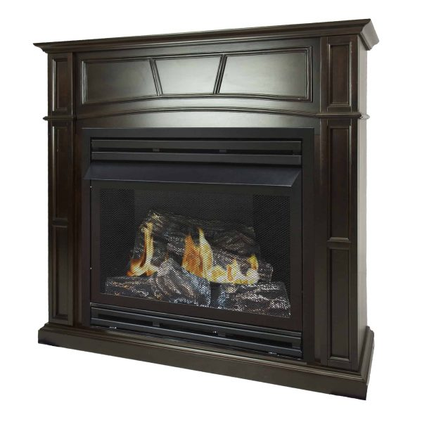 Pleasant Hearth 46 in. Natural Gas Full Size Tobacco Vent Free Fireplace System 32