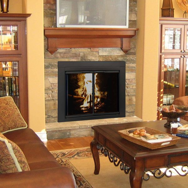 Pleasant Hearth Alpine Black Fireplace Glass Doors - Large 1