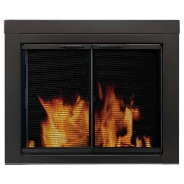 Pleasant Hearth Alpine Black Fireplace Glass Doors - Large