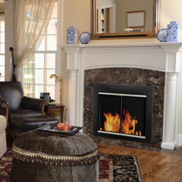 Pleasant Hearth Alsip Cabinet Fireplace Screen and Glass Doors - Black and Sunlight Nickel