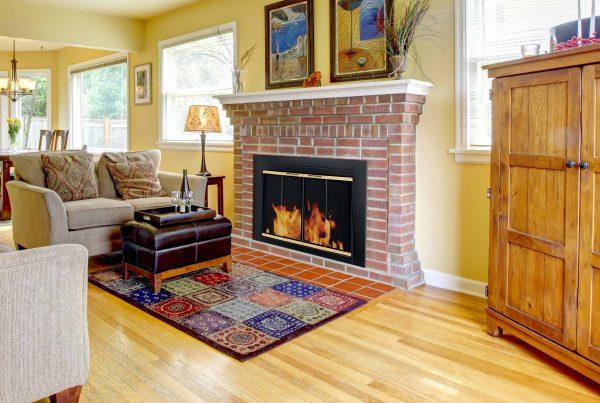 Pleasant Hearth Arrington Black with gold trim Fireplace Glass Firescreen doors - Small 1