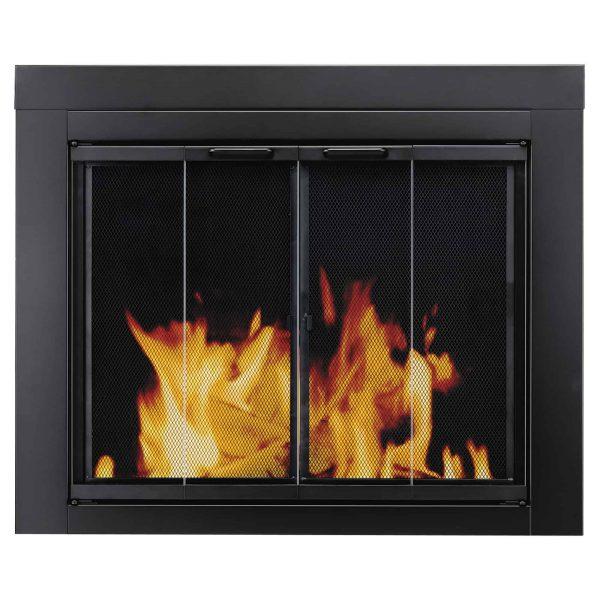 Pleasant Hearth Ascot Black Fireplace Glass Doors - Medium