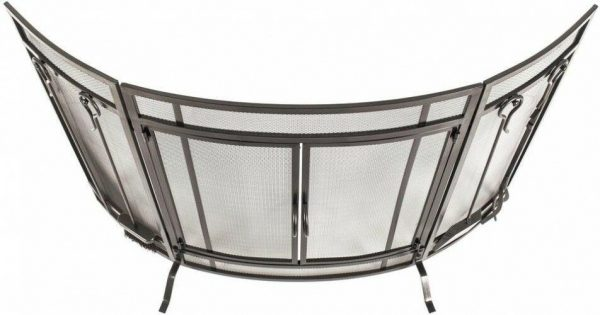 Pleasant Hearth Curved 3-Panel Screen with Tools in Vintage Iron 1