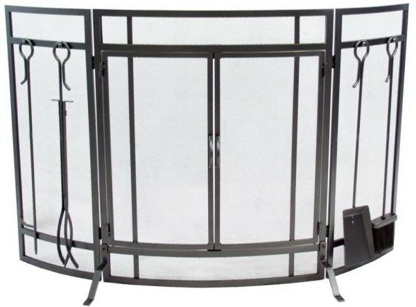 Pleasant Hearth Curved 3-Panel Screen with Tools in Vintage Iron
