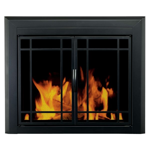 Pleasant Hearth Easton Black Fireplace Glass Firescreen Doors - Large
