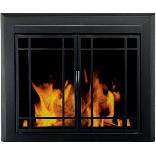 Pleasant Hearth Emery Cabinet Prairie Style Fireplace Glass Door