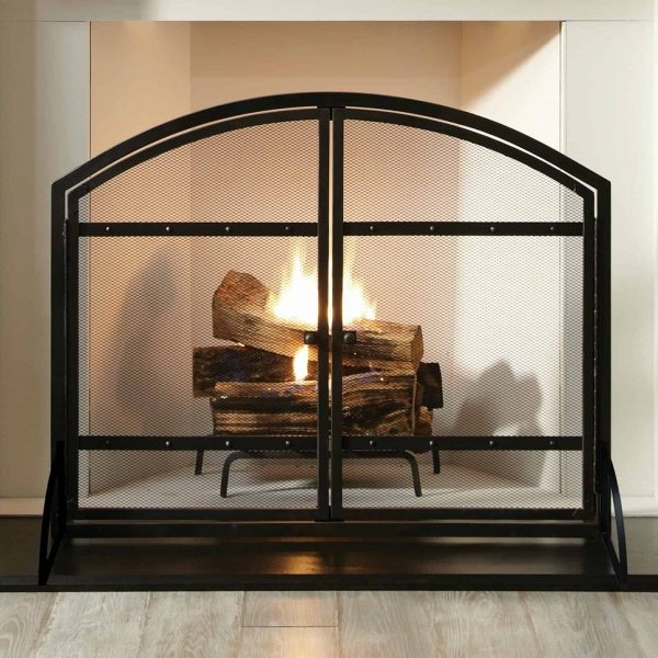 Pleasant Hearth FA338S Harper 1-Panel Fireplace Screen with Doors - Antique 1