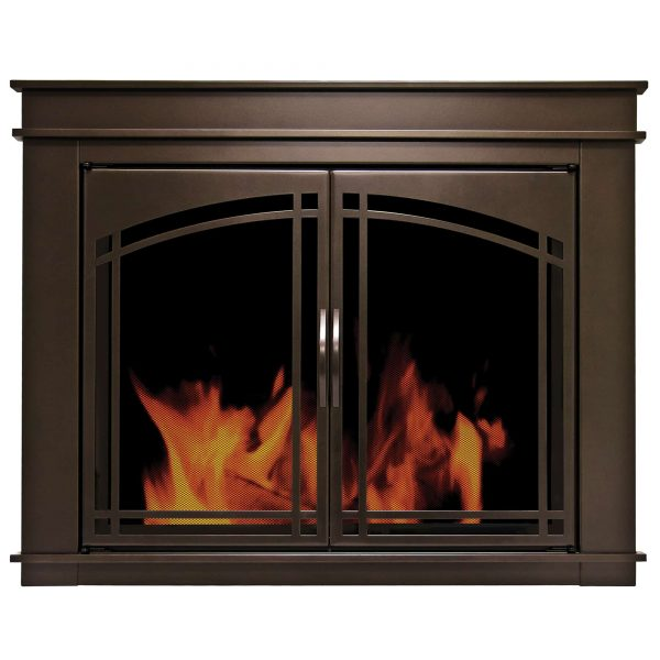 Pleasant Hearth Fenwick Glass Firescreen Oil Rubbed Bronze - Medium