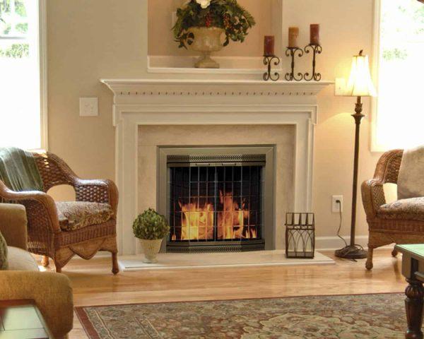 Pleasant Hearth Grandior Bay Fireplace Screen and Bi-Fold Track-Free Elegant Clear Glass Doors - Antique Brass 1