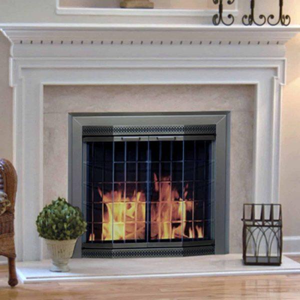 Pleasant Hearth Grandior Bay Fireplace Screen and Bi-Fold Track-Free Elegant Clear Glass Doors - Antique Brass
