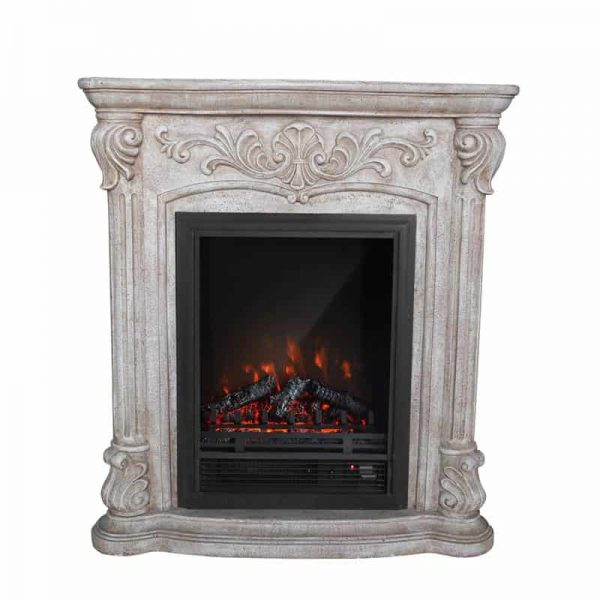 PolyStone Roma Electric Fireplace Heater Mantel with Remote 1