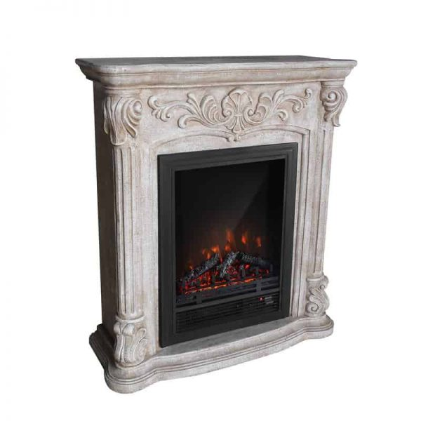 PolyStone Roma Electric Fireplace Heater Mantel with Remote 2