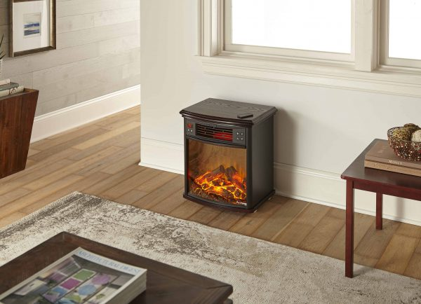 Portable Electric Fireplace Night Stand with Remote - 3-D Log and Fire Effect by e-Flame USA 1
