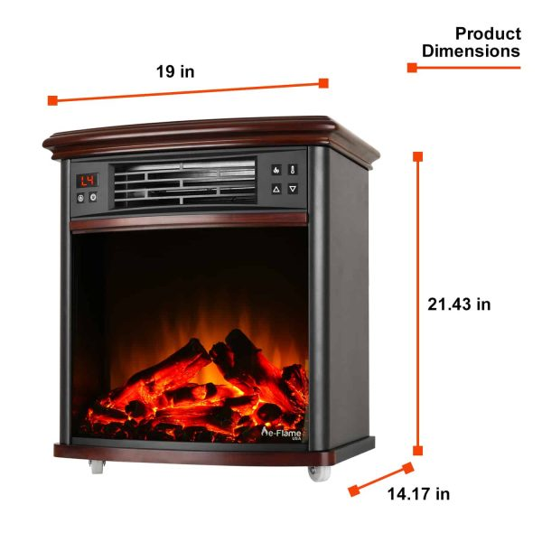 Portable Electric Fireplace Night Stand with Remote - 3-D Log and Fire Effect by e-Flame USA 3
