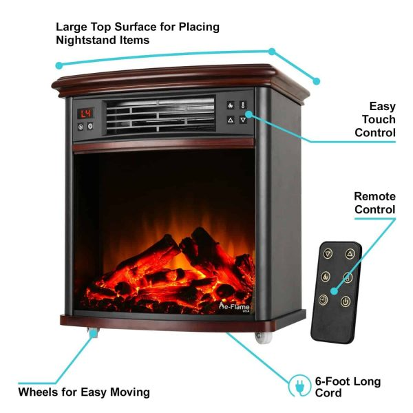 Portable Electric Fireplace Night Stand with Remote - 3-D Log and Fire Effect by e-Flame USA 5