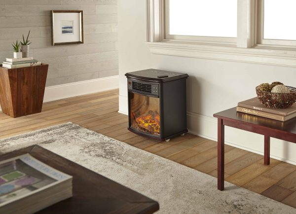 Portable Electric Fireplace Night Stand with Remote - 3-D Log and Fire Effect by e-Flame USA 7