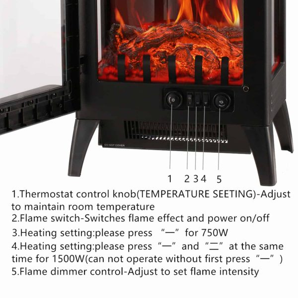 Portable Indoor Home Compact Electric Wood Stove Fireplace Heater, with Thermostat for office and Home 1500W 16.2 W x 10.6 D x 22.8 H, Black 9