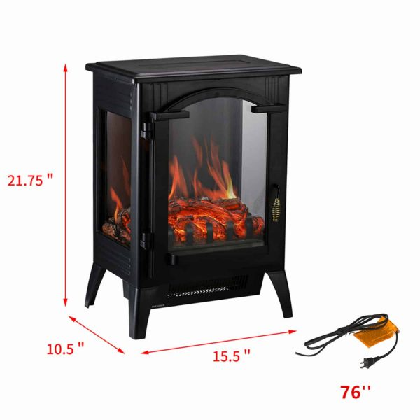 Portable Indoor Home Compact Electric Wood Stove Fireplace Heater, with Thermostat for office and Home 1500W 16.2 W x 10.6 D x 22.8 H, Black 1