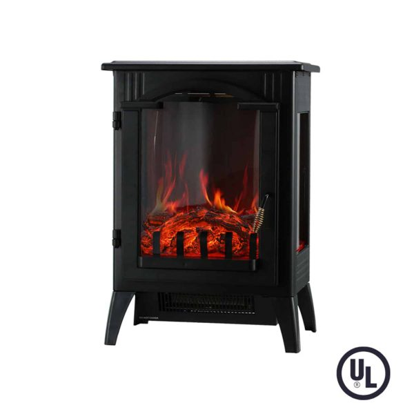 Portable Indoor Home Compact Electric Wood Stove Fireplace Heater, with Thermostat for office and Home 1500W 16.2 W x 10.6 D x 22.8 H, Black 2