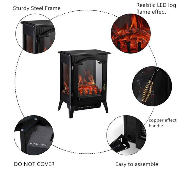 Portable Indoor Home Compact Electric Wood Stove Fireplace Heater, with Thermostat for office and Home 1500W 16.2 W x 10.6 D x 22.8 H, Black 3