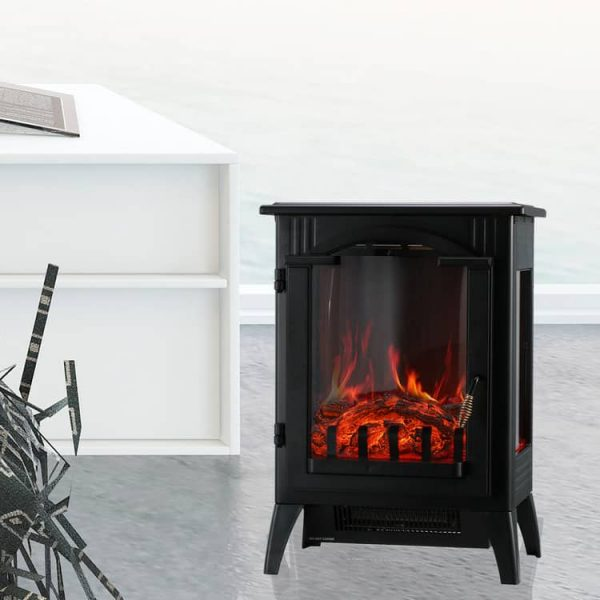 Portable Indoor Home Compact Electric Wood Stove Fireplace Heater, with Thermostat for office and Home 1500W 16.2 W x 10.6 D x 22.8 H, Black 5