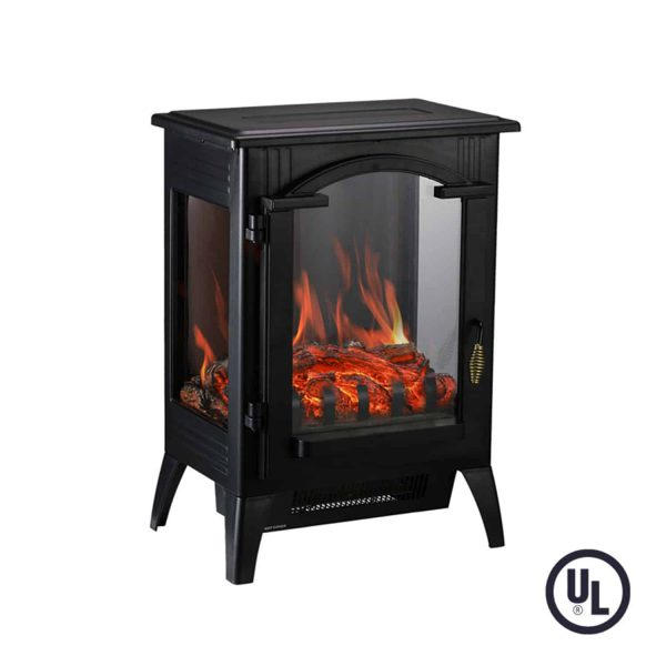 Portable Indoor Home Compact Electric Wood Stove Fireplace Heater, with Thermostat for office and Home 1500W 16.2 W x 10.6 D x 22.8 H, Black 6