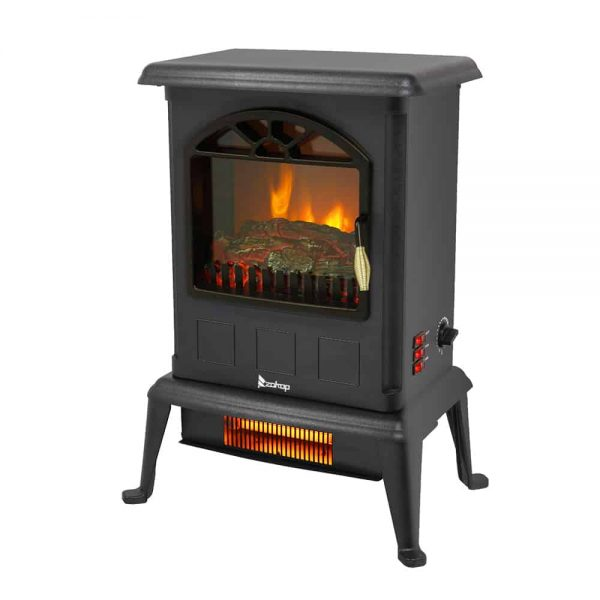 Portable Space Heater, Freestanding Infrared Quartz Electric Fireplace Stove, Log Fuel Effect Realistic Flame Electric Heater, Safety Protection, 20 In 1500W Heater for home / Office, Black, W6639 1