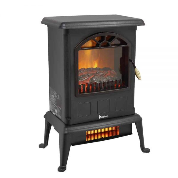 Portable Space Heater, Freestanding Infrared Quartz Electric Fireplace Stove, Log Fuel Effect Realistic Flame Electric Heater, Safety Protection, 20 In 1500W Heater for home / Office, Black, W6639 2