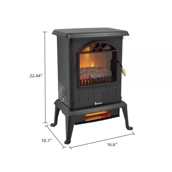 Portable Space Heater, Freestanding Infrared Quartz Electric Fireplace Stove, Log Fuel Effect Realistic Flame Electric Heater, Safety Protection, 20 In 1500W Heater for home / Office, Black, W6639 3