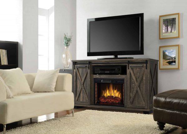 Portland 58-in Infrared Media Electric Fireplace in Barnboard Gray 3