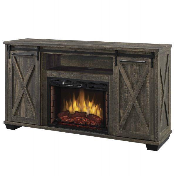 Portland 58-in Infrared Media Electric Fireplace in Barnboard Gray