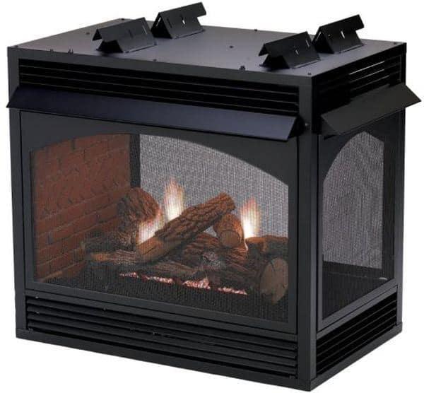 """Premium VF MV Peninsula 36"""" Fireplace with 24"""" Rock Creek Logset - NG"""