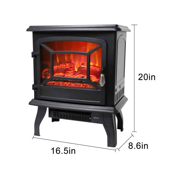 ROVSUN 1400W Free Standing Electric Fireplace Heater Fire Stove Flame Wood Log Portable 1