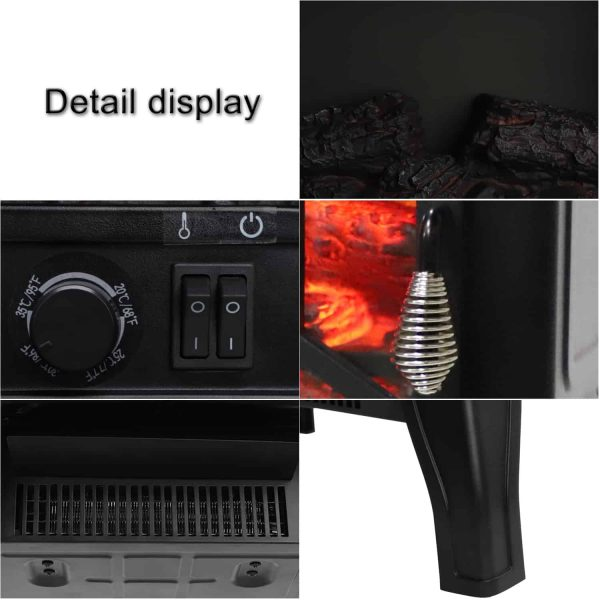 ROVSUN 1400W Free Standing Electric Fireplace Heater Fire Stove Flame Wood Log Portable 2