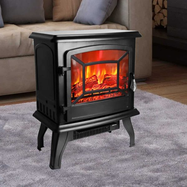 ROVSUN 1400W Free Standing Electric Fireplace Heater Fire Stove Flame Wood Log Portable