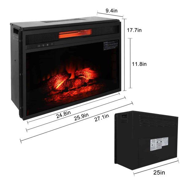 "ROVSUN 26"" Embedded Electric Fireplace Heater,Flame Electric 1500W Fireplace View Log Flame with Remote Control,Black 3"