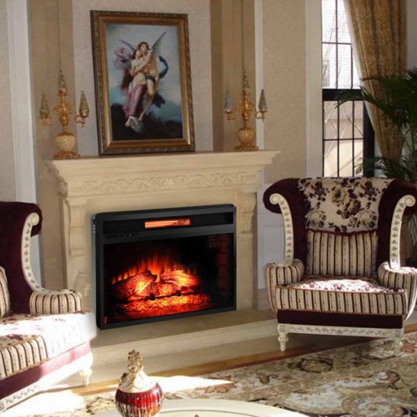 "ROVSUN 26"" Embedded Electric Fireplace Heater,Flame Electric 1500W Fireplace View Log Flame with Remote Control,Black 4"