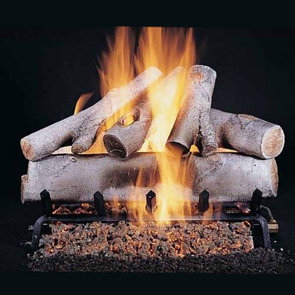 "Rasmussen Birch Log Set w/ 18"" (F) Burner and No Pilot Kit"