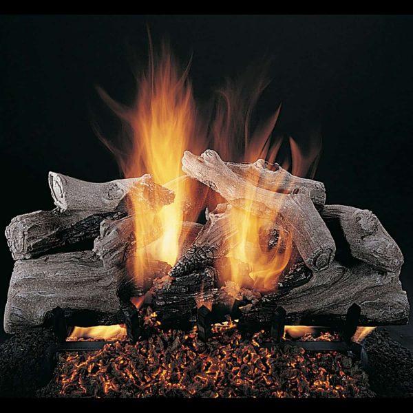 """Rasmussen Evening Campfire Log Set w/ 24"""" (CS) Burner and No Pilot Kit"""