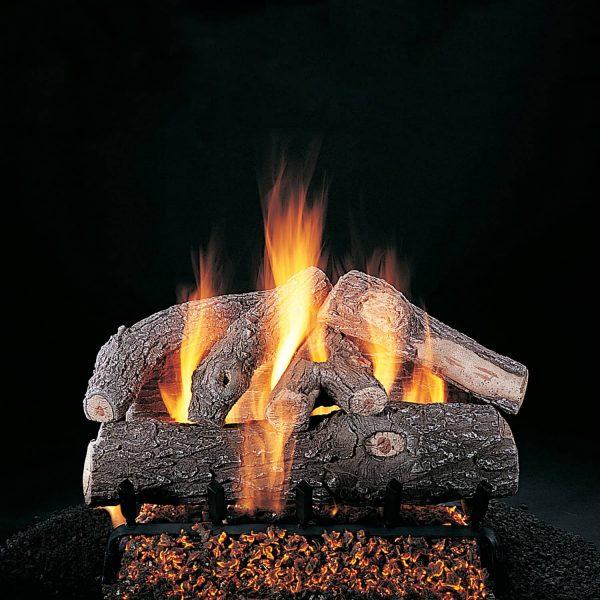 """Rasmussen Frosted Oak Log Set w/ 24"""" (F) Burner and No Pilot Kit"""
