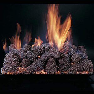 "Rasmussen Pine Cones Fireplace Set w/ 18"" (CS) Burner and Pilot Kit"