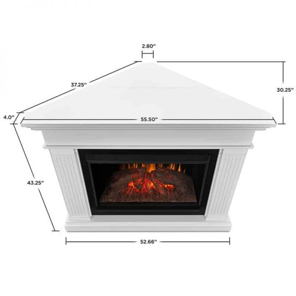 Real Flame Kennedy Grand Corner Electric Fireplace, White 5