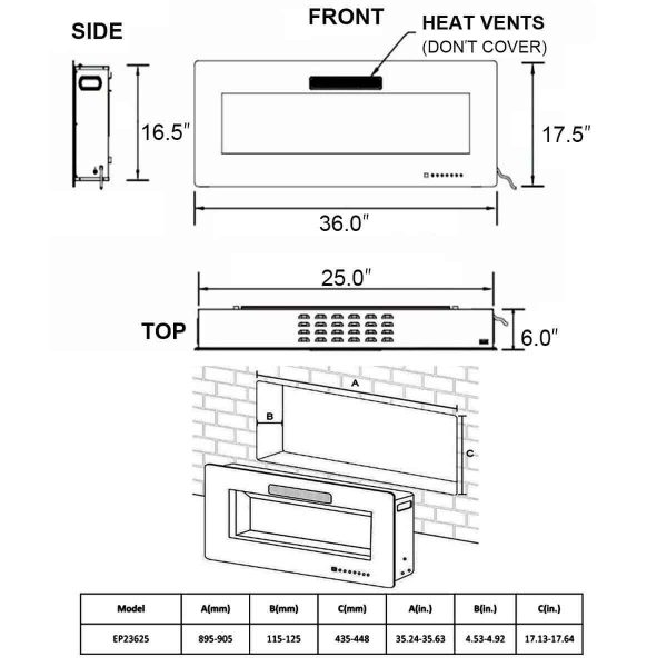 Recessed Wall Mounted Standing Electric Heater Electric Fireplace EP23625EP23626 WC 10