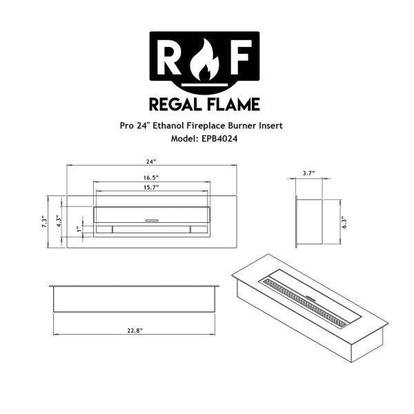 Regal Flame EBP4024-EF 24 in. Pro Bio Ethanol Fireplace Burner Insert - 4.8 Litre 5