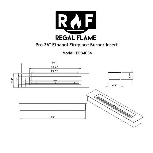 Regal Flame EBP4036-EF 36 in. Pro Bio Ethanol Fireplace Burner Insert - 7.4 Litre 5