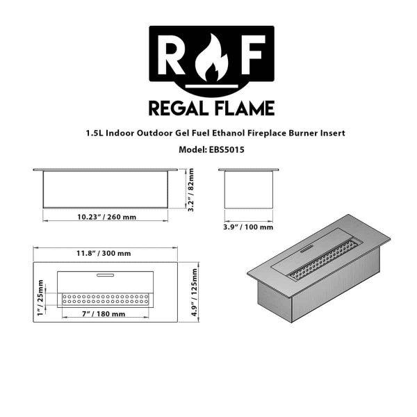 Regal Flame EBS5015-EF 12 in. Slim Bio Ethanol Fireplace Burner Insert - 1.5 Litre 6