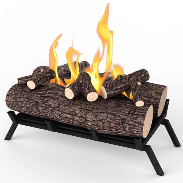 Regal Flame ECK20WD15 18 in. Ethanol Fireplace Grate Log Set with Burner Insert from Gel or Gas Logs, 18 x 4.7 x 13.4 in. 2
