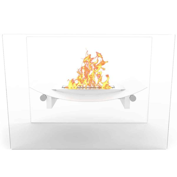 Regal Flame EF6007W Bow Ventless Free Standing Ethanol Fireplace in White 1