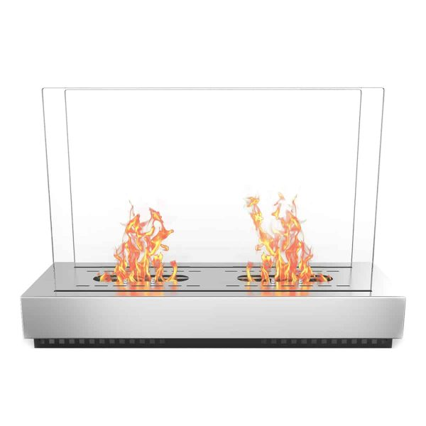 Regal Flame EF6009 Phoenix Ventless Free Standing Ethanol Fireplace in Stainless Steel 1
